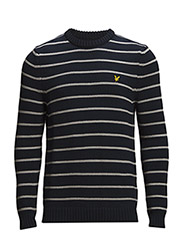 LS Crew neck stripe chunky knit 3gg pullover - NEW NAVY