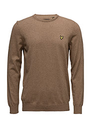 Crew Neck Cotton Merino 12gg Jumper - BRACKEN BROWN MARL