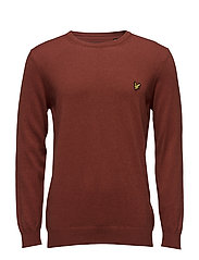 Crew Neck Cotton Merino 12gg Jumper - BURNT REDWOOD