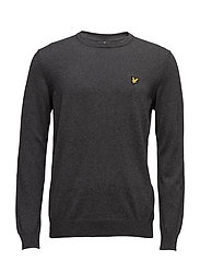 Crew Neck Cotton Merino 12gg Jumper - CHARCOAL MARL