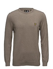 Crew Neck Cotton Merino 12gg Jumper - FUDGE