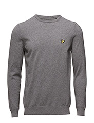 Crew Neck Cotton Merino 12gg Jumper - MID GREY MARL