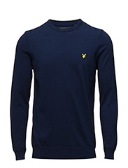 Crew Neck Cotton Merino 12gg Jumper - NAVY