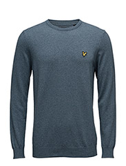 Crew Neck Cotton Merino 12gg Jumper - NIAGARA BLUE MARL