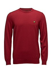 Crew Neck Cotton Merino 12gg Jumper - RUBY