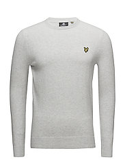 Cotton Merino Crew Jumper - DOVE GREY MARL