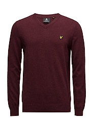 V Neck Cotton Merino Jumper - CLARET JUG