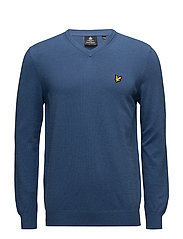 V Neck Cotton Merino Jumper - STORM BLUE MARL
