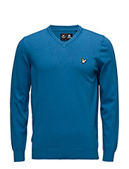 V Neck Cotton Merino Jumper - DEEP COBALT