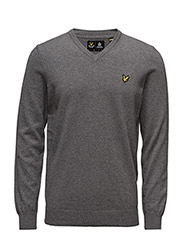 V Neck Cotton Merino Jumper - MID GREY MARL