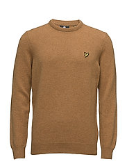 Crew Neck Lambswool Jumper - DARK GOLD MARL