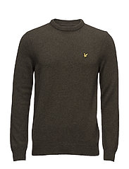 Crew Neck Lambswool Jumper - OLIVE MARL