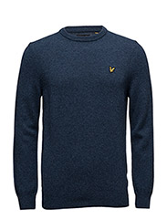 Crew Neck Lambswool Jumper - NAVY MARL