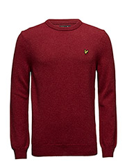 Crew Neck Lambswool Jumper - RED MARL