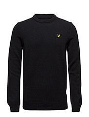 Crew Neck Lambswool Jumper - TRUE BLACK