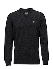 V Neck Lambswool Jumper - CHARCOAL MARL