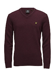 V Neck Lambswool Jumper - CLARET MARL
