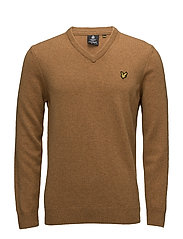 V Neck Lambswool Jumper - DARK GOLD MARL