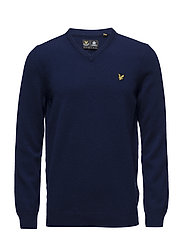 V Neck Lambswool Jumper - NAVY