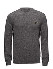 Crew Neck Links Detail 7gg Jumper - MID GREY MARL