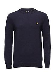 Crew Neck 3 Colour Mouline 7GG Jumper - NAVY