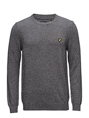 Crew Neck 3 Colour Mouline 7GG Jumper - MID GREY MARL