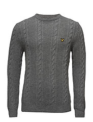 Crew Neck Lambswool Cable 5GG Jumper - MID GREY MARL
