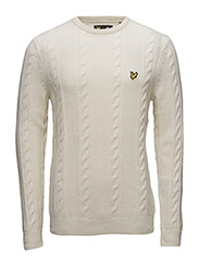 Crew Neck Lambswool Cable 5GG Jumper - IVORY