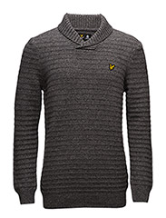 Shawl Neck Links 7GG Jumper - MID GREY MARL