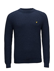 Crew Neck Fisherman's Rib 5GG Jumper - NAVY MARL