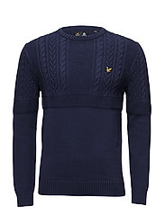 Crew Neck 7GG Guernsey Jumper - NAVY