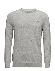 Crew Neck Cotton Linen Jumper - LIGHT GREY MARL