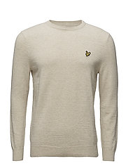 Crew Neck Cotton Linen Jumper - OATMEAL MARL