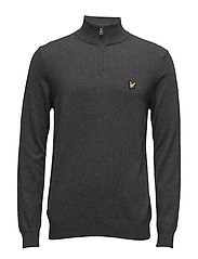 1/4 Zip Cotton Merino Jumper - CHARCOAL MARL