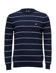Striped Geometric Crew Neck 12GG Jumper - NAVY