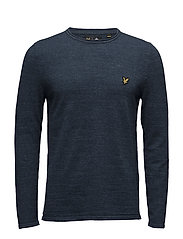 Unfinished Rolled Neck 12gg Jumper - NAVY MARL