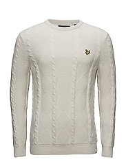 Crew Neck 7gg Cable Jumper - OFF WHITE