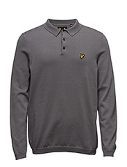 LS Mercerised Cotton Knitted Polo - GREY MARL