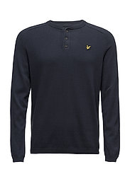 Henley Neck 12gg Jumper - NAVY