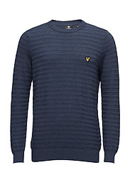Textured Stripe Jumper - INK BLUE MARL