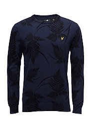 Fern Print Jumper - NAVY