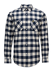 Herringbone Check Flannel Over Shirt - IVORY