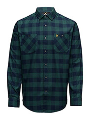 Herringbone Check Flannel Over Shirt - SEA GREEN