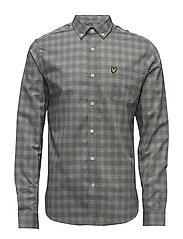 Textured Check Shirt - CHARCOAL