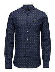 Textured Check Shirt - NAVY