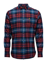 Check Flannel Shirt - NAVY / RED
