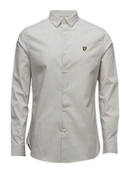 Poplin Slim Fit Shirt - LIGHT GREY MARL