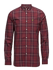 Poplin Check Shirt - POMEGRANATE