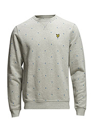 LS Micro split square crew neck sweat - Light Grey Marl