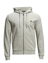 LS Zip through hoodie - Light Grey Marl